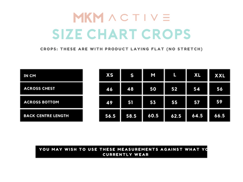 MKM ACTIVE SIZE CHART CROPS