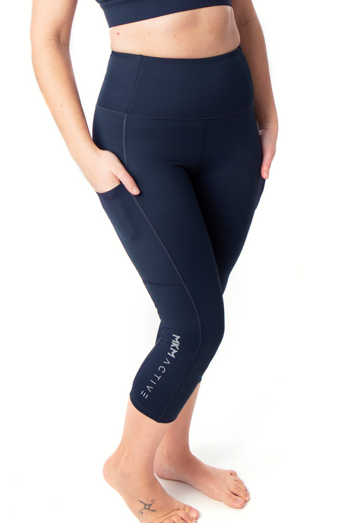 MKM ACTIVE HIGH RISE 3/4 LEGGING WITH POCKETS DEEP NAVY
