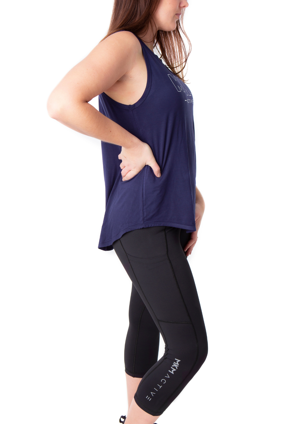 MKM ACTIVE 3/4 BLACK LEGGINGS WITH POCKETS