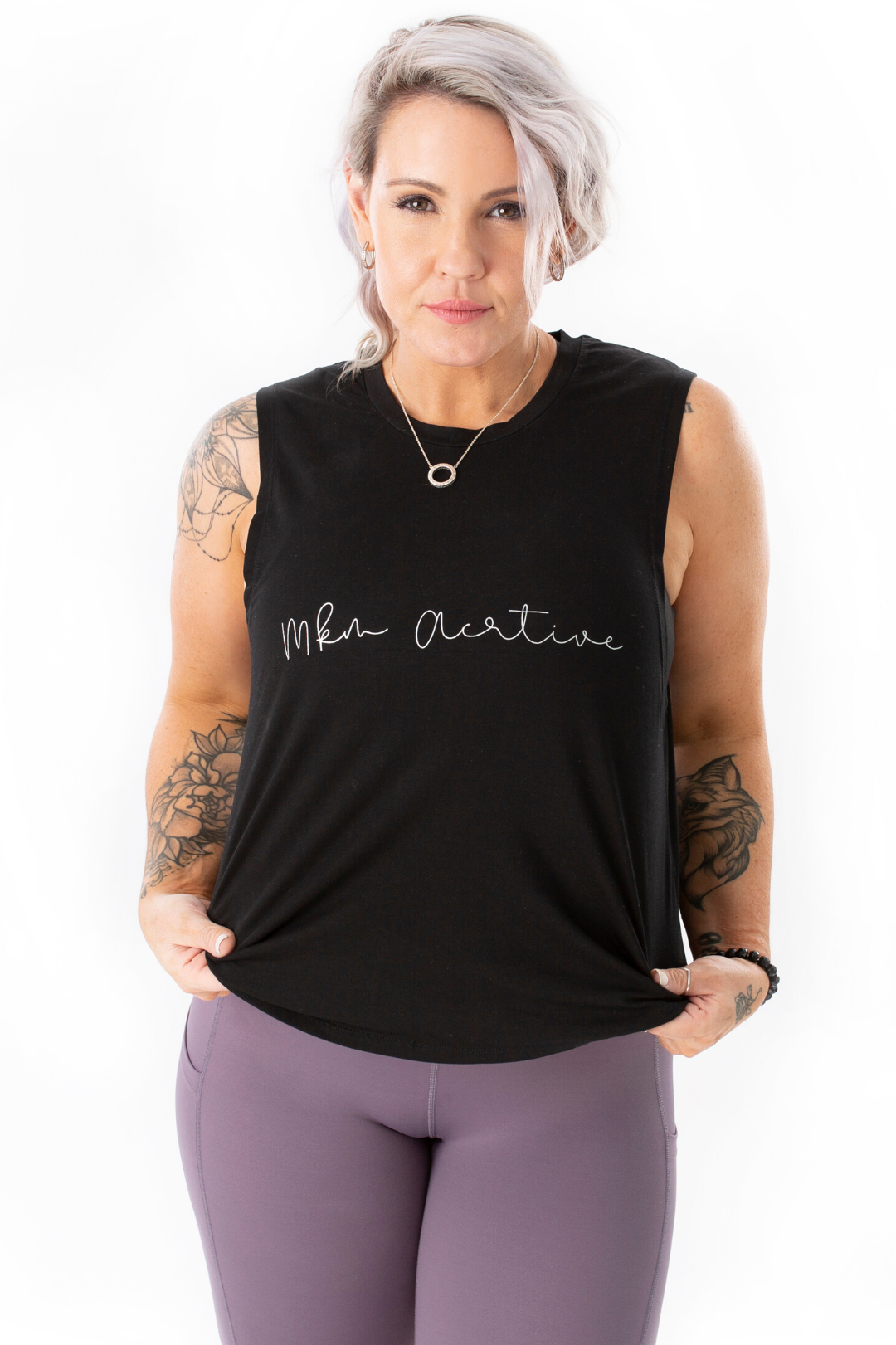 mkm active luxe black tank