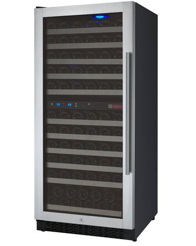 "24"" Wide FlexCount II Tru-Vino 121 Bottle Dual Zone Stainless Steel Left Hinge Wine Refrigerator Model:VSWR121-2SL20"