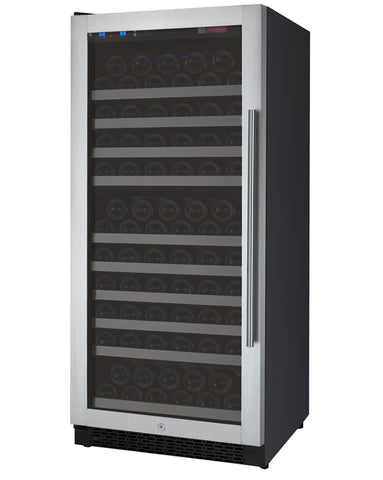 "Allavino 24"" Wide FlexCount II Tru-Vino 128 Bottle Single Zone Stainless Steel Left Hinge Wine Refrigerator Model: VSWR128-1SL20"