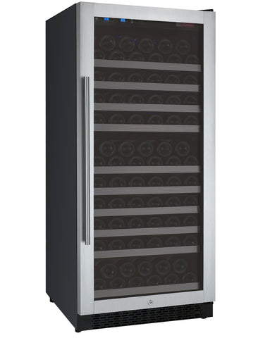 "Allavino 24"" Wide FlexCount II Tru-Vino 128 Bottle Single Zone Stainless Steel Right Hinge Wine Refrigerator Model: VSWR128-1SR20"