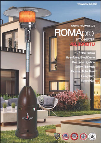 NEW MODEL Lava Heat Italia Patio Heater Roma Pro Heritage Bronze - Liquid Propane TL7RMPBRLP
