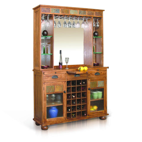 Sunny Designs Sedona Server , Back Bar - Rustic Oak 2413RO - BarStoreUSA