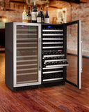"Allavino 47"" Wide FlexCount II Tru-Vino 242 Bottle Four Zone Stainless Steel Side-by-Side Wine Refrigerator Model: 2X-VSWR121-2S20"