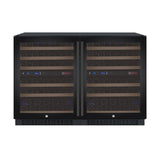 "Allavino 47"" Wide FlexCount II Tru-Vino 112 Bottle Four Zone Black Side-by-Side Wine Refrigerator Model: 2X-VSWR56-2B20"
