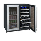 "Allavino 30"" Wide FlexCount II Tru-Vino 30 Bottle/88 Can Dual Zone Stainless Steel Side-by-Side Wine Refrigerator/Beverage Center Model: 3Z-VSWB15-2S20"