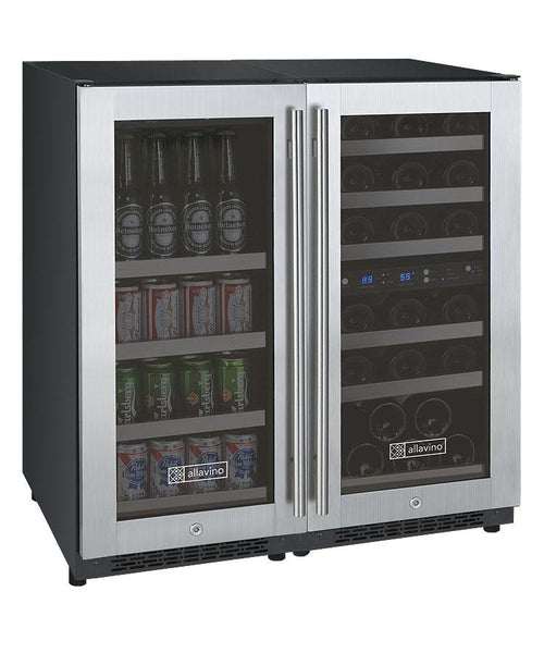 "Allavino 30"" Wide FlexCount Series 30 Bottle/88 Can Dual Zone Stainless Steel Side-by-Side Wine Refrigerator/Beverage Center BF 3Z-VSWB15-3SST - BarStoreUSA"
