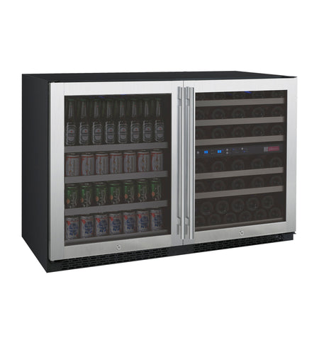 "Allavino 47"" Wide FlexCount II Tru-Vino 56 Bottle/124 Can Stainless Steel Side-by-Side Wine Refrigerator/Beverage Center Model: 3Z-VSWB24-3S20"