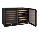 "Allavino 47"" Wide FlexCount II Tru-Vino 112 Bottle Three Zone Black Side-by-Side Wine Refrigerator Model: 3Z-VSWR5656-B20"
