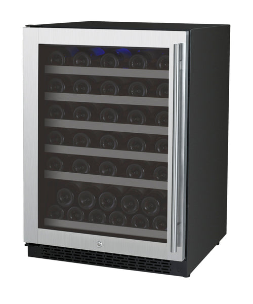 "Allavino 24"" Wide FlexCount II Tru-Vino Series 56 Bottle Single Zone Stainless Steel Left Hinge Wine Refrigerator Model: VSWR56-1SL20"