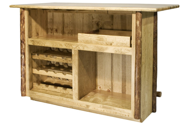 Montana Woodworks Glacier Country Collection Deluxe Bar with Foot Rail - BarStoreUSA
