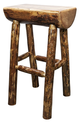Montana Woodworks Glacier Country Collection Half Log Barstool - BarStoreUSA
