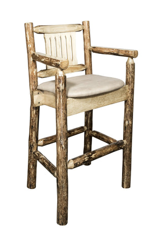 Montana Woodworks Glacier Country Collection Captain's Barstool w/ Upholstered Seat - BarStoreUSA
