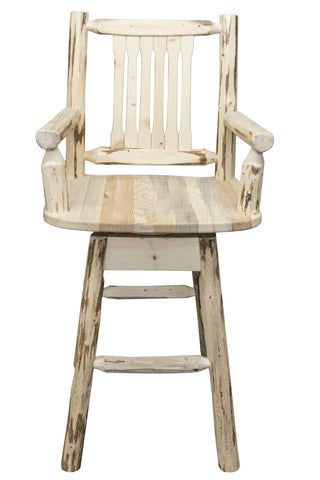 Montana Woodworks Montana Collection Captain's Barstool w/ Back & Swivel - BarStoreUSA