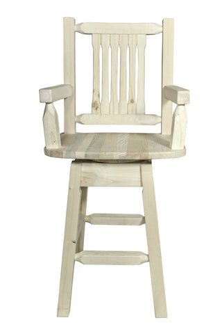 Montana Woodworks Homestead Collection Captain's Barstool w/ Back & Swivel - BarStoreUSA