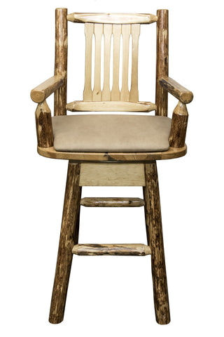 Montana Woodworks Glacier Country Collection Captain's Barstool w/ Back & Swivel w/ Upholstered Seat - BarStoreUSA