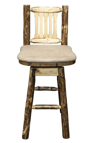 Montana Woodworks Glacier Country Collection Barstool w/ Back & Swivel w/ Upholstered Seat - BarStoreUSA