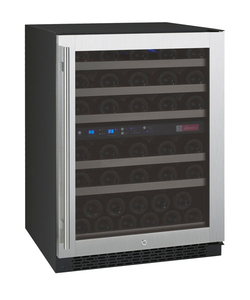 "Allavino 24"" Wide FlexCount II Tru-Vino 56 Bottle Dual Zone Stainless Steel Right Hinge Wine Refrigerator Model: VSWR56-2SR20"