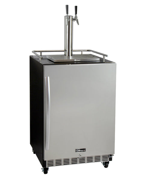 "Kegco 24"" Wide Dual Tap Stainless Steel Commercial Right Hinge Built-In Kegerator with Kit Model: HK38BSC-2"