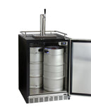 "Kegco 24"" Wide Single Tap Stainless Steel Built-In Digital Left Hinge Kegerator with Kit Model: HK38BSU-L-1"