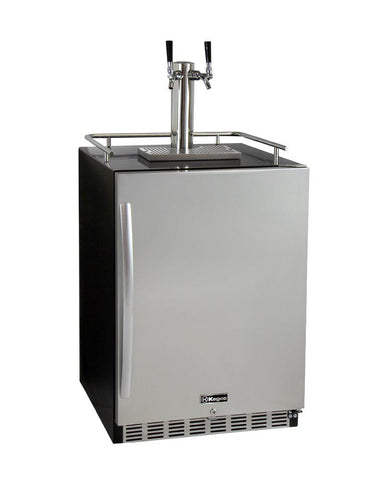 Kegco 2-Faucet Undercounter Kegerator with Premium Direct Draw Kit HK38BSU-2 - BarStoreUSA