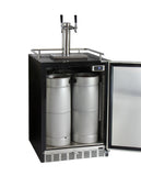 "Kegco 24"" Wide Cold Brew Coffee Dual Tap Black Commercial Built-In Right Hinge Kegerator Model: ICHK38BSU-2"