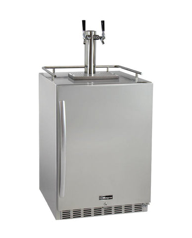 Kegco 2-Faucet Outdoor Undercounter Kegerator with Premium Direct Draw Kit HK38SSU-2 - BarStoreUSA