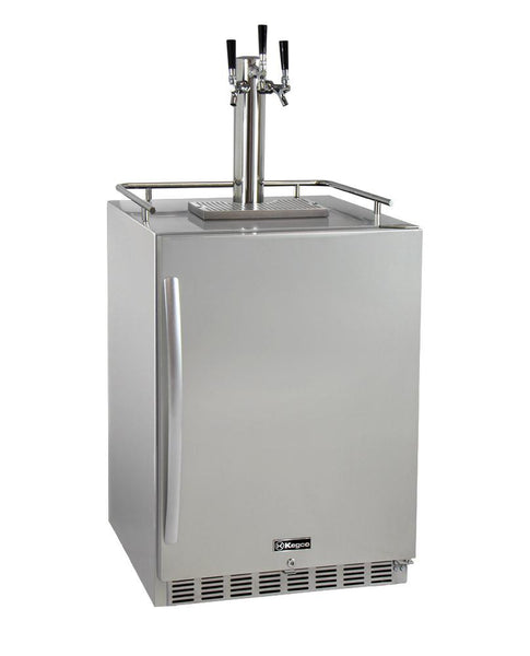 Kegco 3-Faucet Outdoor Undercounter Kegerator with Premium Direct Draw Kit HK38SSU-3 - BarStoreUSA