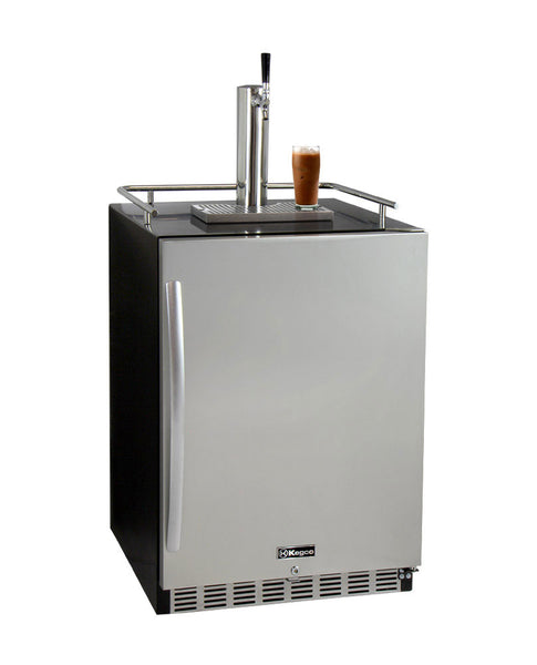 "Kegco 24"" Wide Cold Brew Coffee Single Tap Black Commercial Built-In Right Hinge Kegerator Model: ICHK38BSU-1"