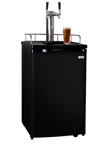 Kegco Dual Faucet Nitro Cold-Brew Coffee Dispenser with Black Cabinet and Door ICK19B-2 - BarStoreUSA