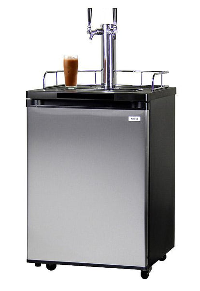 Kegco Dual Faucet Nitro Cold-Brew Coffee Dispenser with Black Cabinet and Stainless Steel Door ICK20S-2 - BarStoreUSA