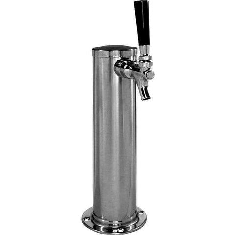 "Chrome Metal 1-Faucet Kegerator Beer Tower - 2-1/2"" Column - BarStoreUSA"