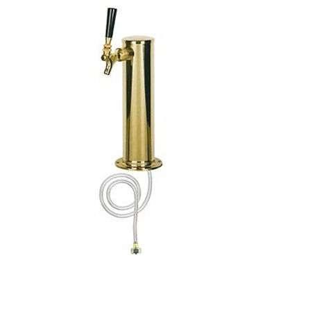 "Draft Beer Tower - Polished Brass Single Faucet 3"" Column - BarStoreUSA"
