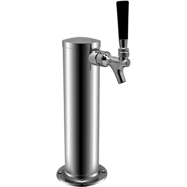 "Polished Stainless Steel Single Faucet Beer Tower - 3"" Column - BarStoreUSA"