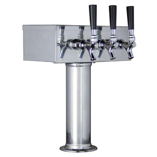 Polished Stainless Steel T-Style 3 Faucet Draft Beer Tower - 3 Inch Column - BarStoreUSA