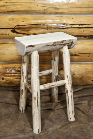 Montana Woodworks Montana Collection Half Log Barstool - BarStoreUSA