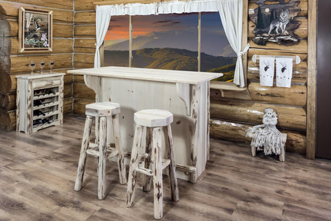 montana woodworks montana collection deluxe bar with foot rail