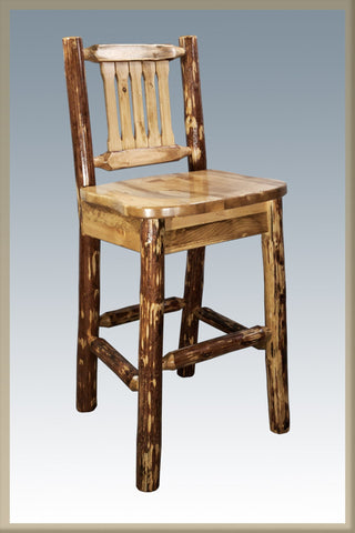 Montana Woodworks Glacier Country Collection Barstool w/ Back - BarStoreUSA
