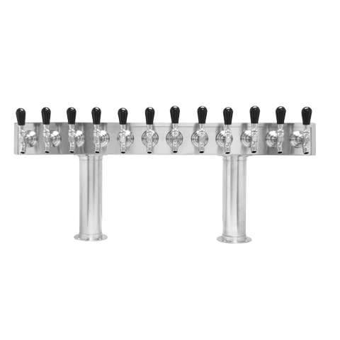 Beer Tower 12 Tap Pass-Thru, 3 Inch Pedestal, Air - BarStoreUSA