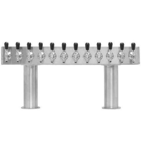 Beer Tower 12 Tap Pass-Thru, 4 Inch Pedestal, Glycol - BarStoreUSA