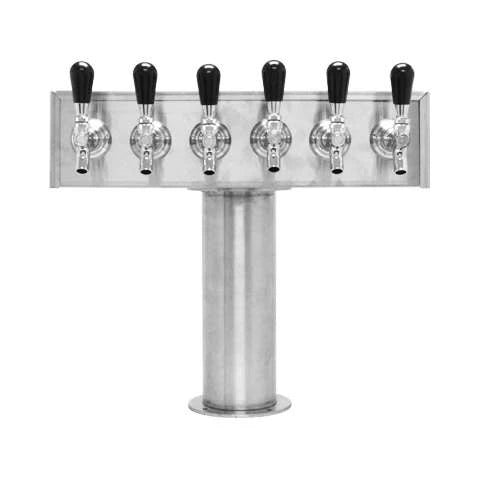 Beer Tower 6 Tap American T-Box, 4 Inch Pedestal, Glycol - BarStoreUSA