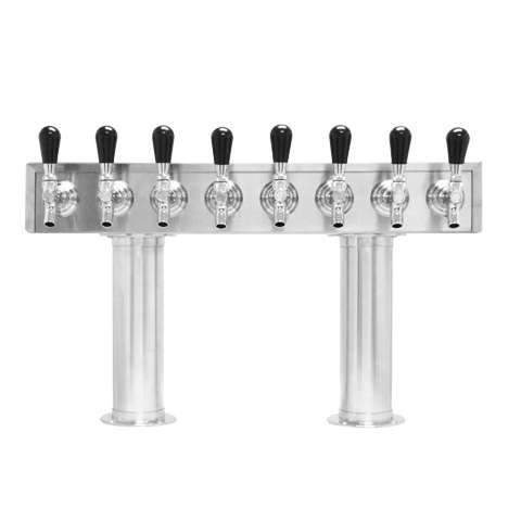 Beer Tower 8 Tap Pass-Thru, 3 Inch Pedestal, Glycol - BarStoreUSA