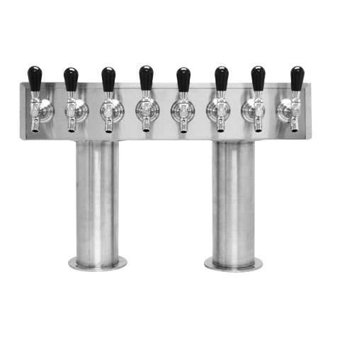 Beer Tower 8 Tap Pass-Thru, 4 Inch Pedestal, Glycol - BarStoreUSA