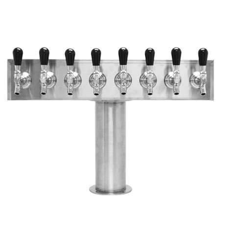 Beer Tower 8 Tap American T-Box, 4 Inch Pedestal, Glycol - BarStoreUSA
