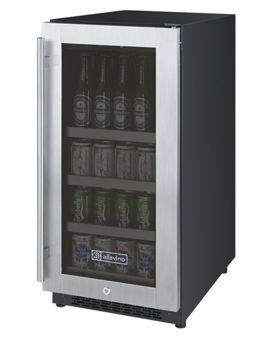 "Allavino 15"" Wide FlexCount II Tru-Vino Stainless Steel Left Hinge Beverage Center Model: VSBC15-SL20"