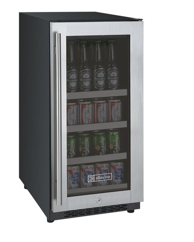 "Allavino 15"" Wide FlexCount II Tru-Vino Stainless Steel Right Hinge Beverage Center Model: VSBC15-SR20"