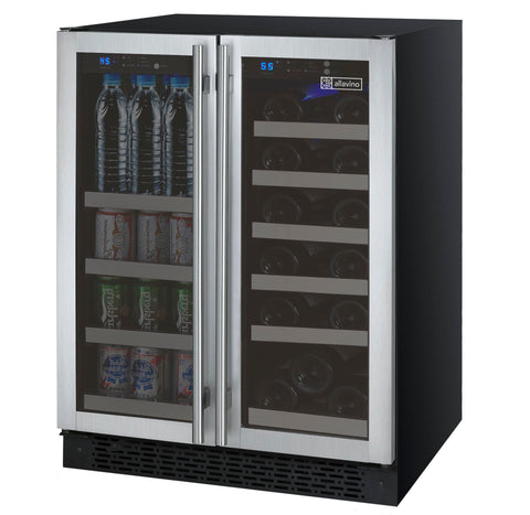 "Allavino24"" Wide FlexCount II Tru-Vino 18 Bottle/66 Cans Dual Zone Stainless Steel Wine Refrigerator/Beverage Center Model:VSWB-2SF20"
