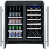 "Allavino 30"" Wide FlexCount II Tru-Vino 30 Bottle/88 Can Dual Zone Stainless Steel Built-In Wine Refrigerator/Beverage Center Model: VSWB30-2SF20"